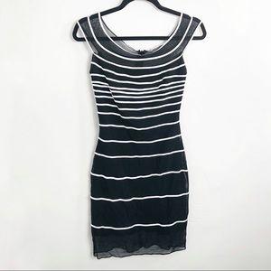 Vintage Tadashi Shoji Black White Striped Dress S